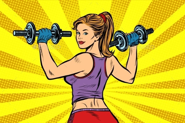 Pop Art Sporty Woman with Dumbbells - Sports/Activity Conceptual