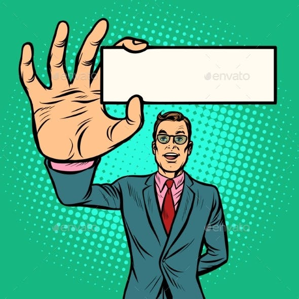 Businessman with Business Card Form