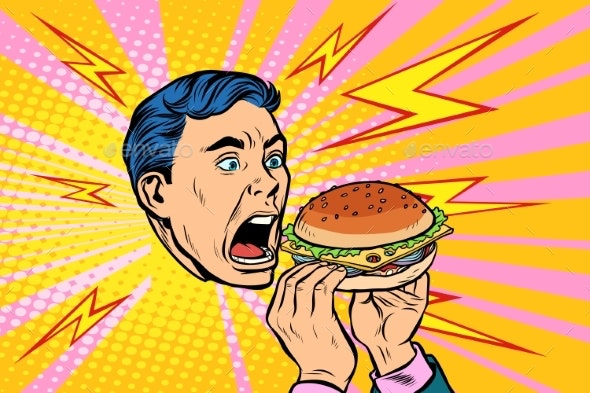 Man Eating Burger - People Characters