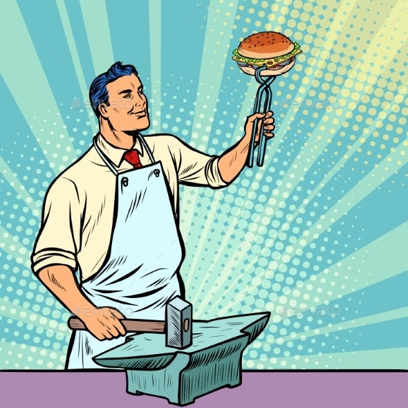 Cook Blacksmith Forges a Burger on the Anvil - Food Objects