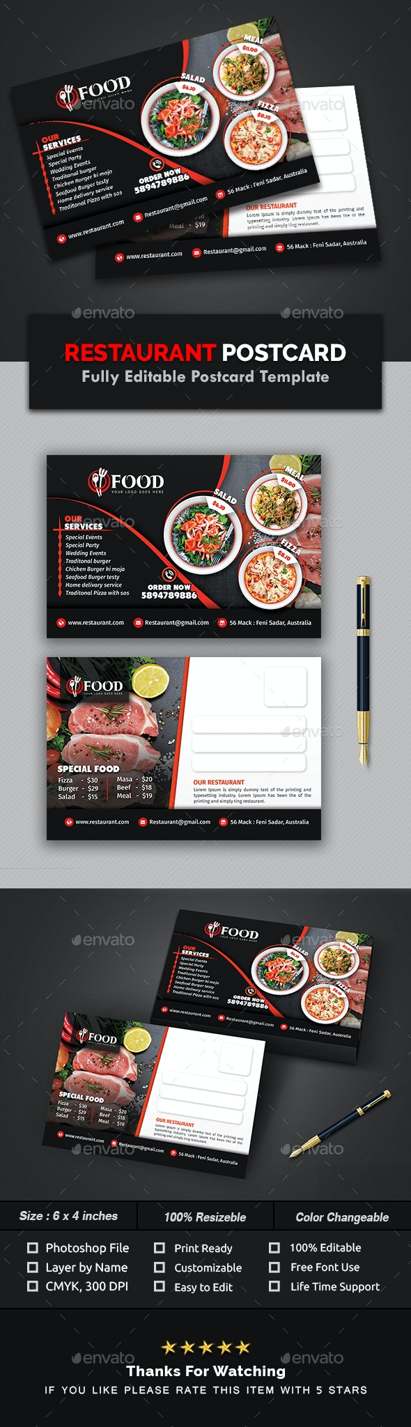 Restaurant Postcard Template - Cards & Invites Print Templates