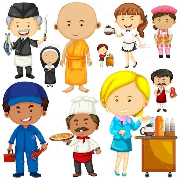 People Doing Different Occupations - People Characters