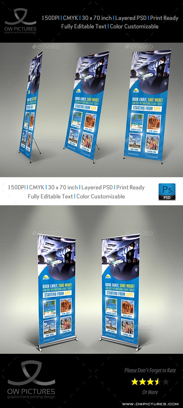 Travel Company Roll Up Signage Banner Template Vol.2 - Signage Print Templates