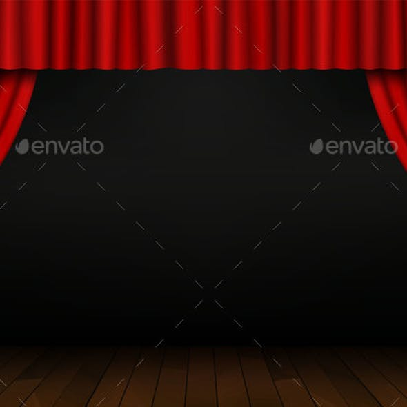 Red Open Curtain with Wood Floor in Theater