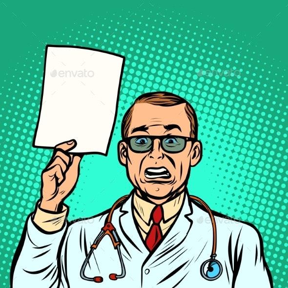Help Information Skeptical Male Doctor - Health/Medicine Conceptual