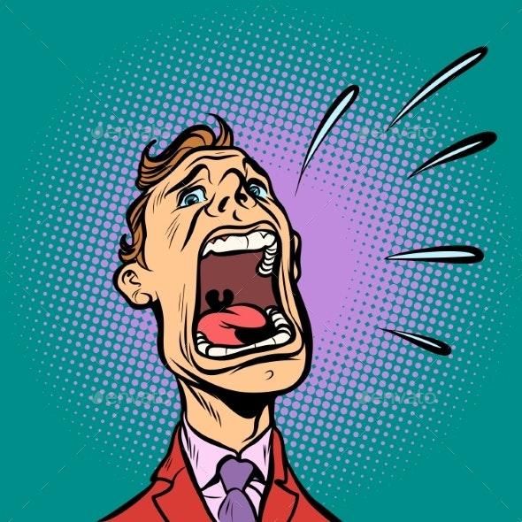 Man Screams Panic by rogistok | GraphicRiver