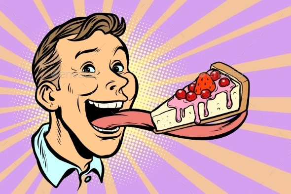 Man with a Cake in a Long Tongue - Food Objects