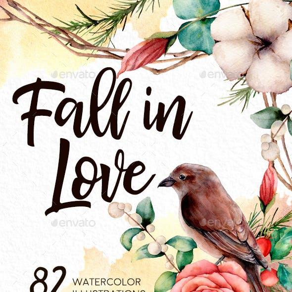 Fall in love. Watercolor