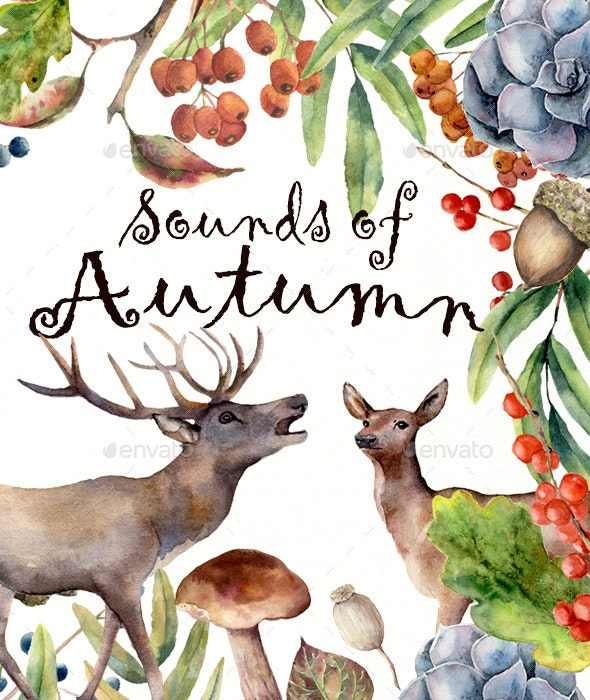 Sounds of Autumn. Watercolor - Nature Backgrounds
