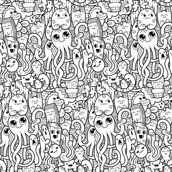 Doodle Monsters Seamless Pattern - Monsters Characters