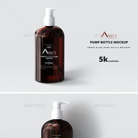 Amber Glass Pump Bottle Mockup