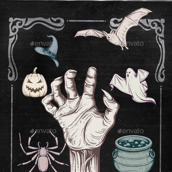 Retro Halloween Elements