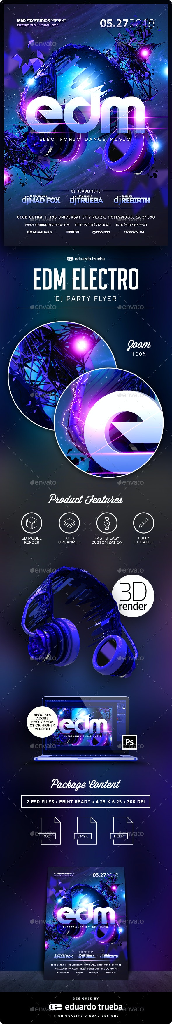 EDM Electro Dj Party Flyer - Clubs & Parties Events