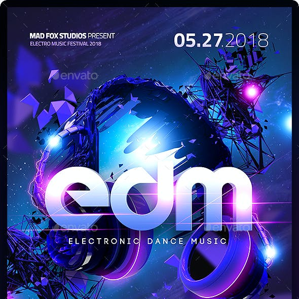 EDM Electro Dj Party Flyer