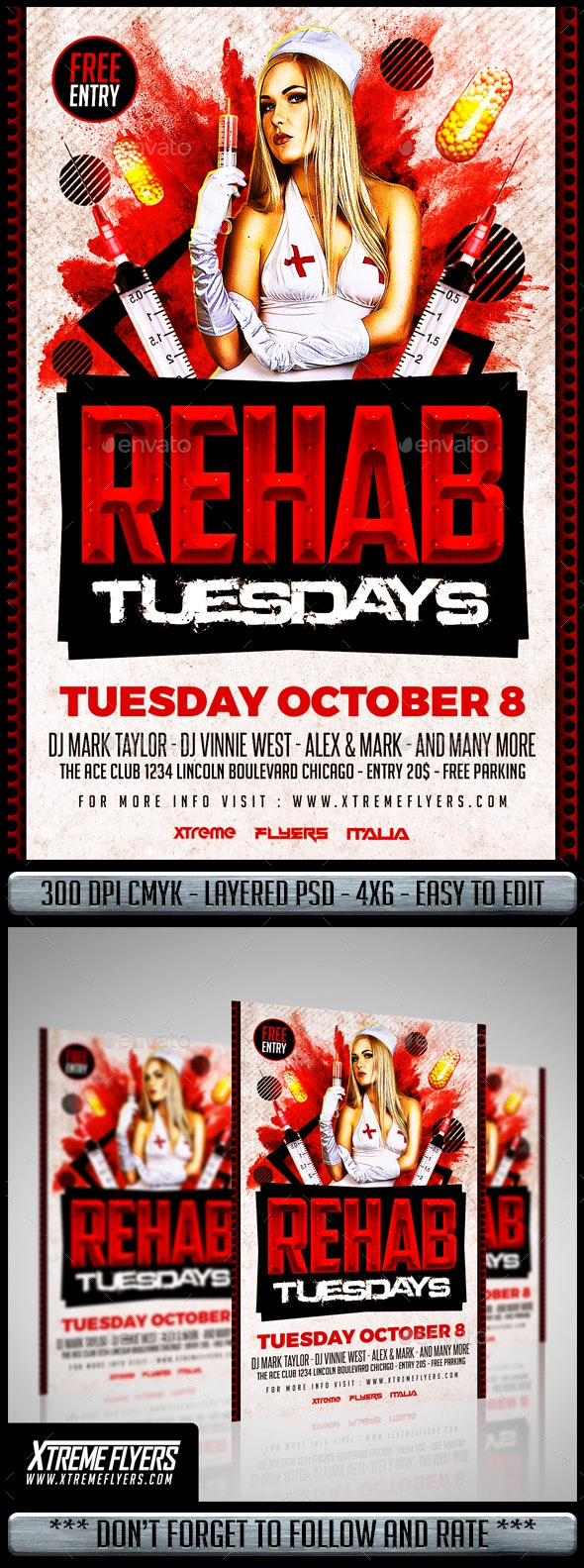 Rehab Flyer Template - Clubs & Parties Events