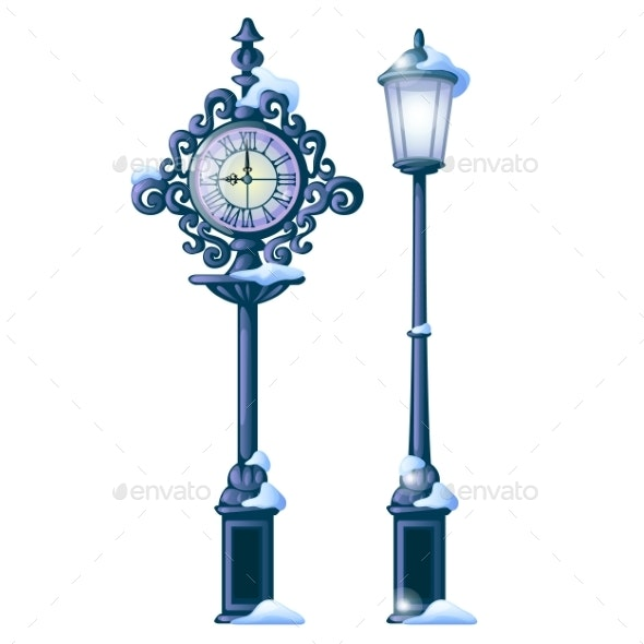 Vintage Snowy Street Clock with Ornate Dial and Light - Miscellaneous Vectors