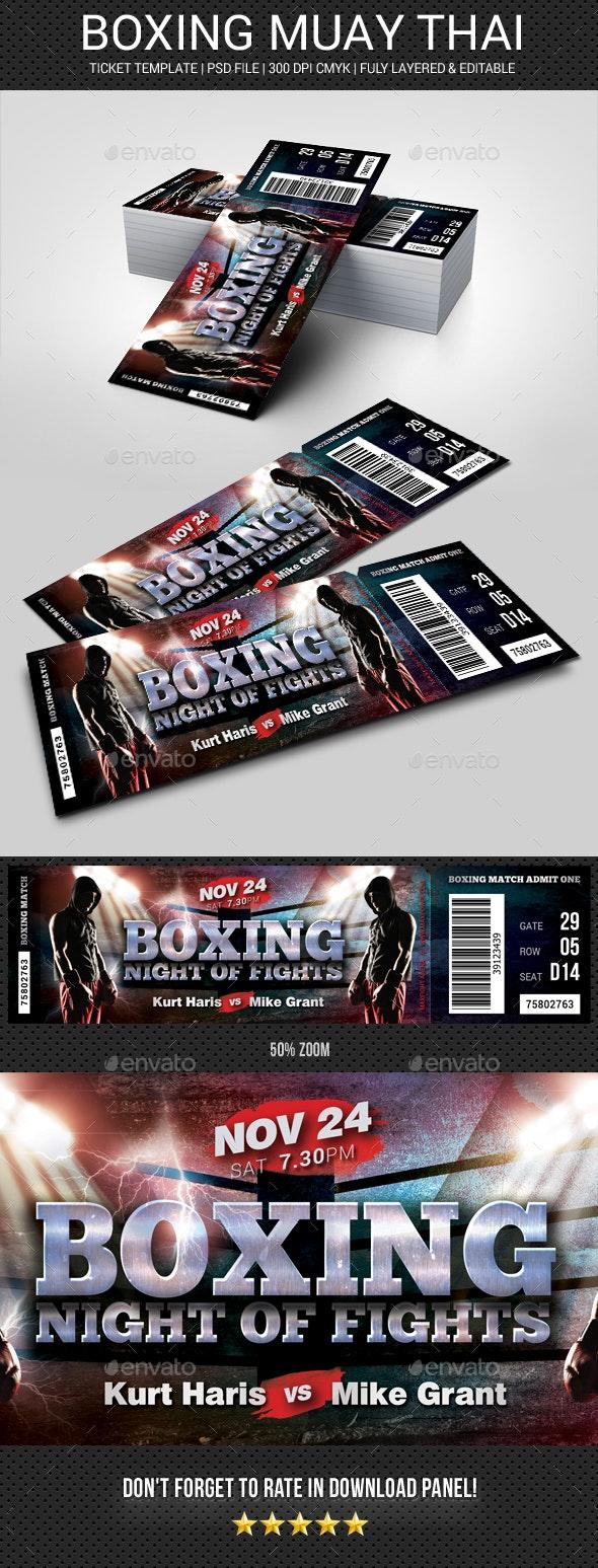 Boxing Muay Thai Ticket - Cards & Invites Print Templates