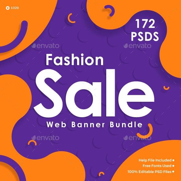 Fashion Sale Banner Set Bundle - 10 Sets - 172 Banners - Banners & Ads Web Elements