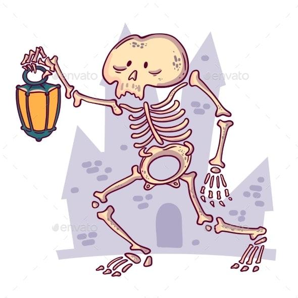 Skeleton with Lantern on a Castle - Halloween Seasons/Holidays