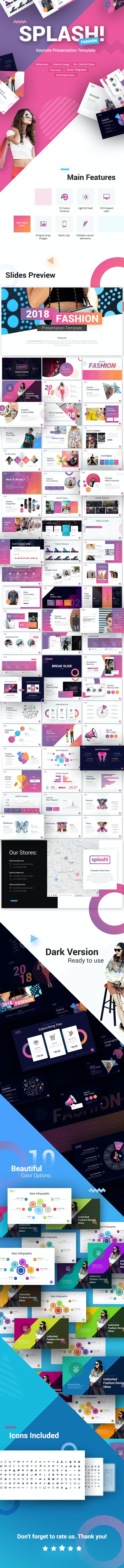 Splash Fashion Keynote Presentation Template - Keynote Templates Presentation Templates