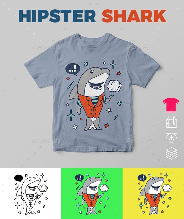 Hipster Shark - Funny Designs
