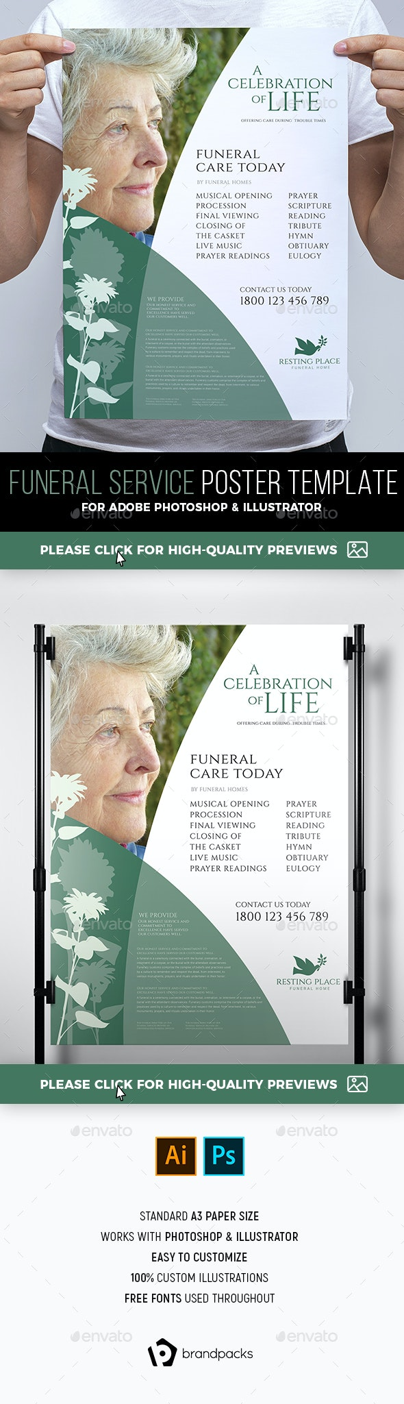 Funeral Service Poster Template - Corporate Flyers