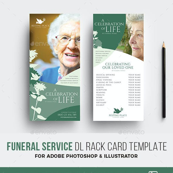 Funeral Service DL Card Template