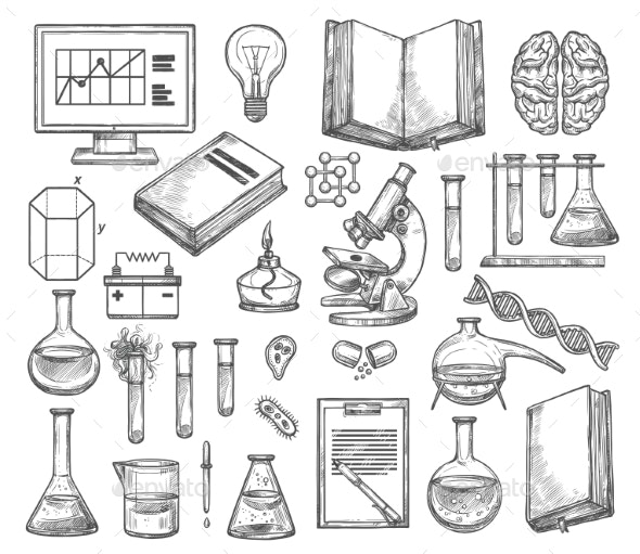 Science and Research Laboratory Vector Sketch - Miscellaneous Vectors