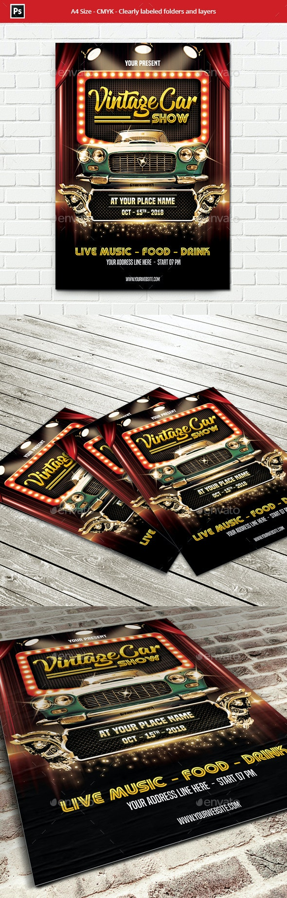 Vintage Car Show Flyer Template - Events Flyers