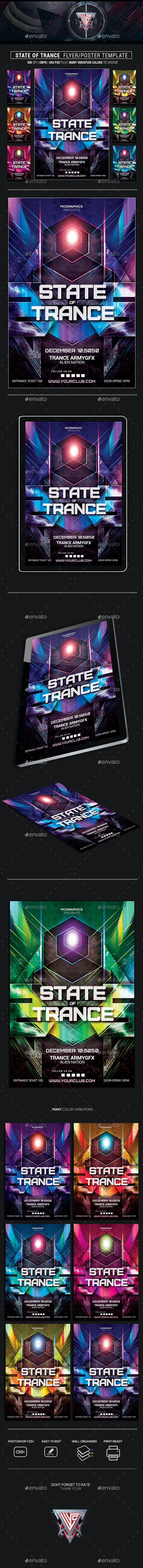 State of Trance Photoshop Flyer/Poster Template - Clubs & Parties Events