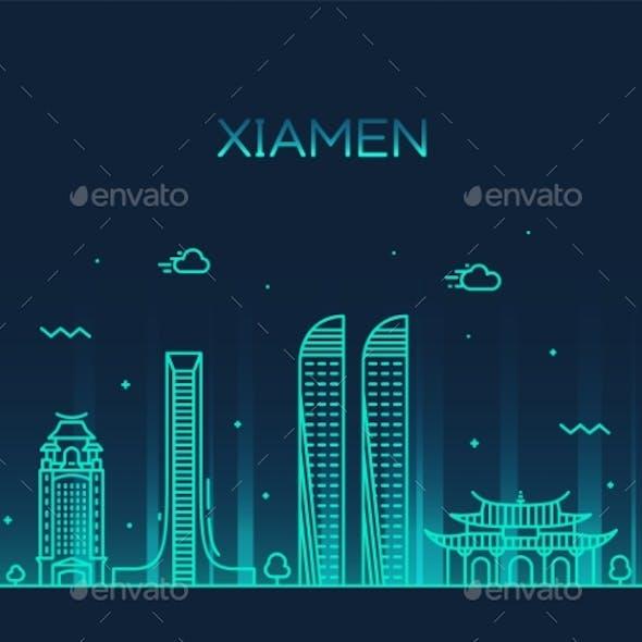 Xiamen Skyline China Vector Linear Style City