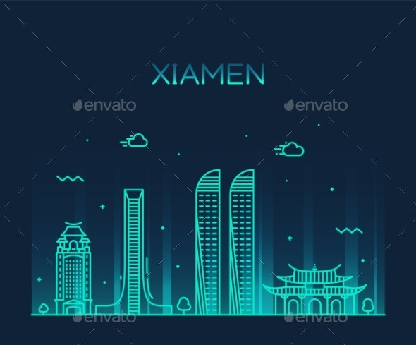 Xiamen Skyline China Vector Linear Style City - Buildings Objects