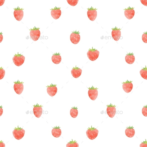 Watercolor Strawberry Pattern - Miscellaneous Illustrations