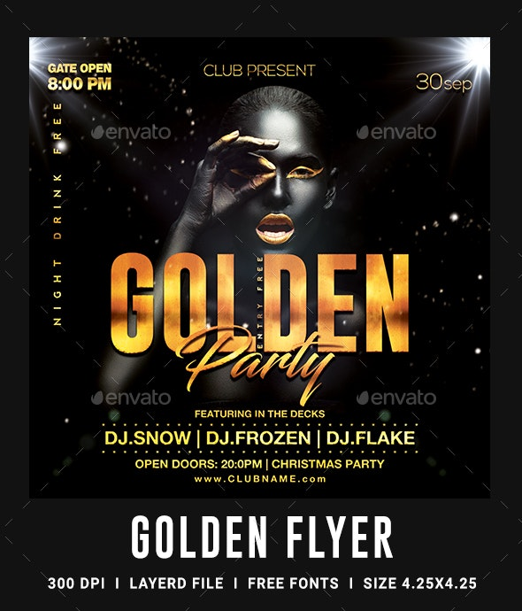 Golden Night Club Flyer Template - Clubs & Parties Events