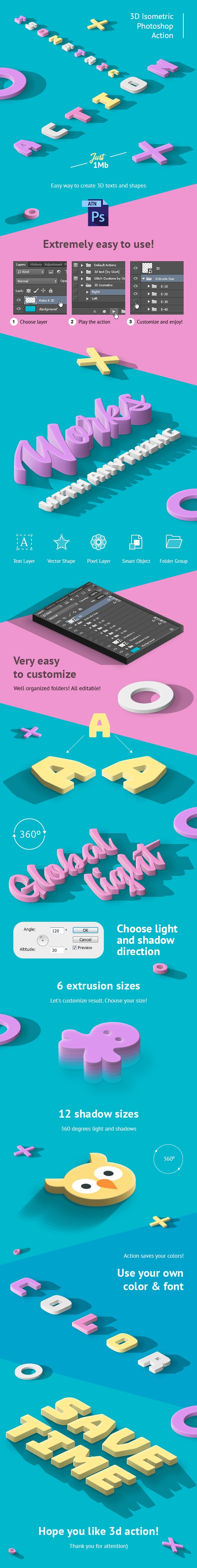 3D Isometric Photoshop Action - Text Effects Actions