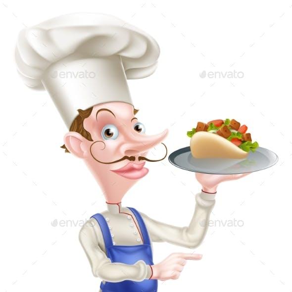 Cartoon Chef With Shawarma Kebab