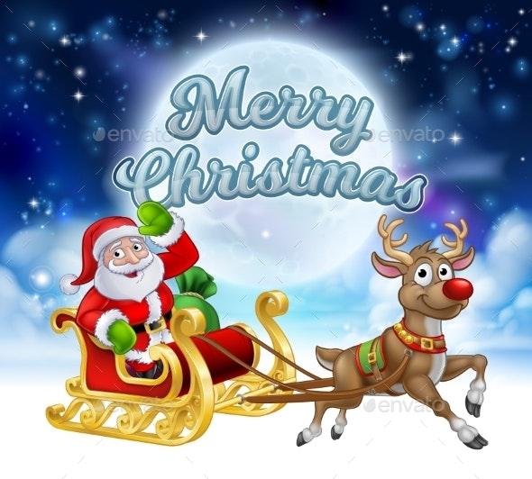 Merry Christmas Santa Sleigh Cartoon Graphic - Christmas Seasons/Holidays