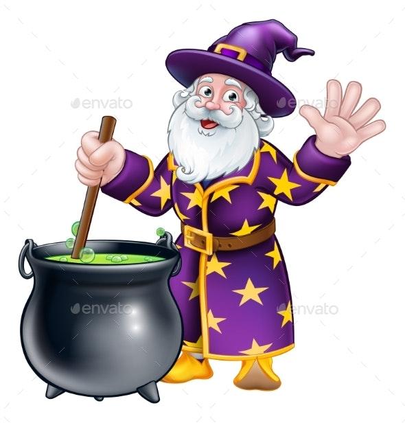 Wizard and Cauldron Cartoon Character - Halloween Seasons/Holidays