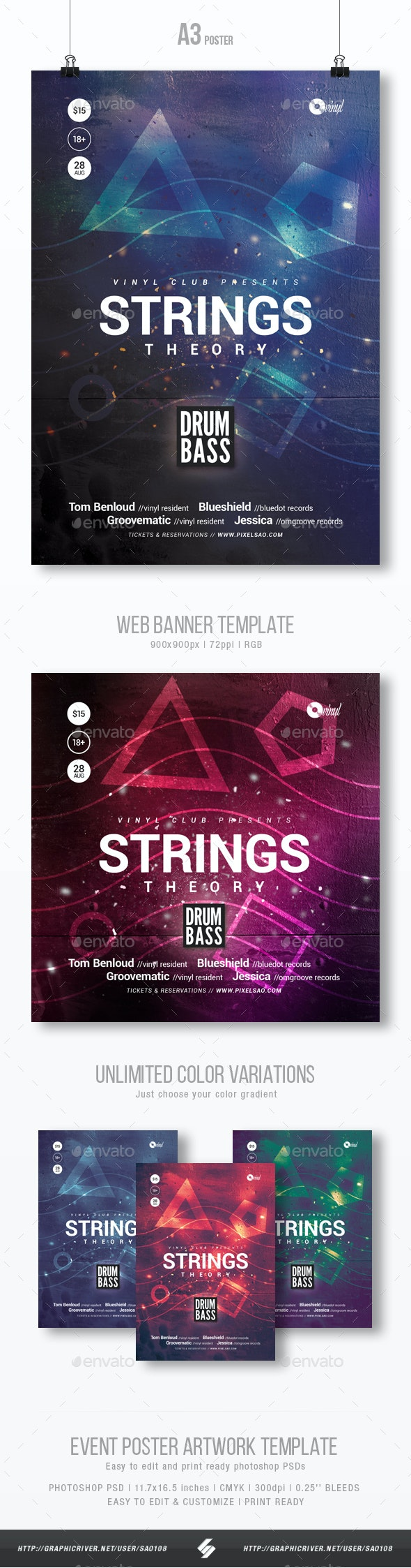 Strings Theory - Progressive Party Flyer / Poster Template A3 - Clubs & Parties Events