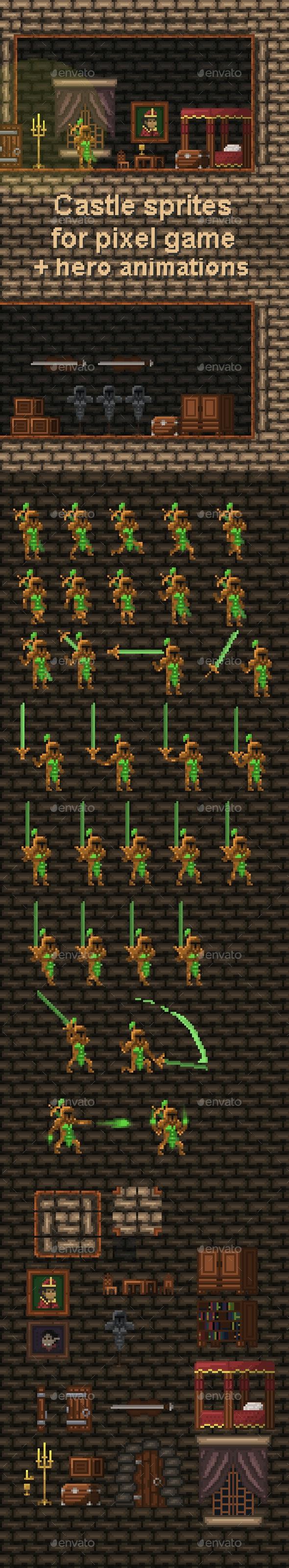 Castle Sprites for Pixel Game - Game Kits Game Assets