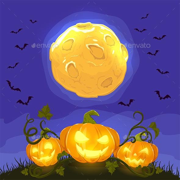 Happy Halloween Pumpkins on Night Background - Halloween Seasons/Holidays