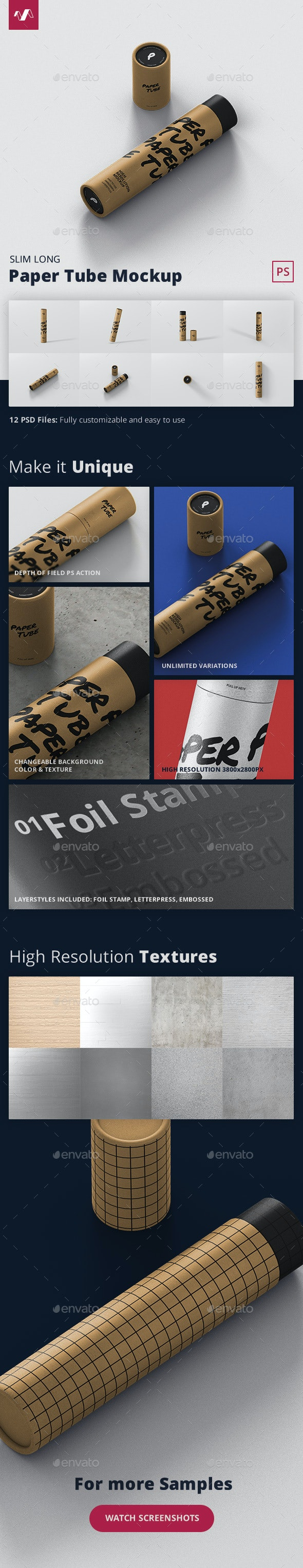 Paper Tube Mockup - Slim Long Size - Miscellaneous Packaging