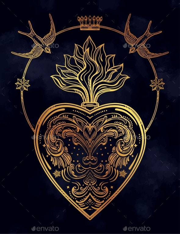 Ornate Decorative Heart with Flame - Decorative Symbols Decorative