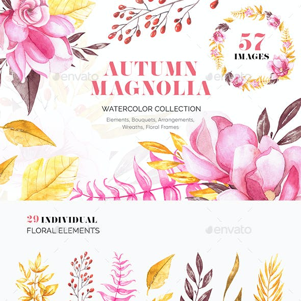 Autumn Magnolia - Watercolor Collection