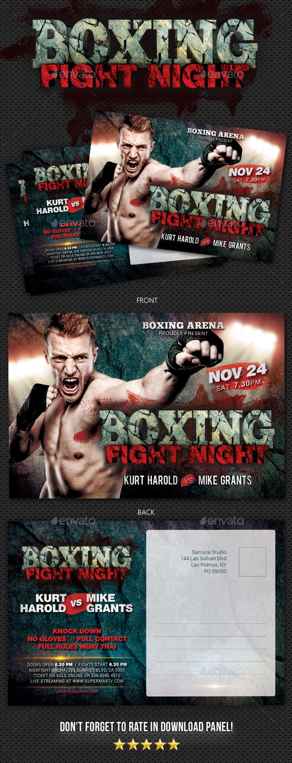 Boxing Postcard - Cards & Invites Print Templates