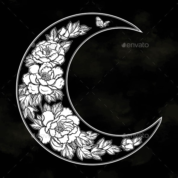 Romantic Crescent Moon - Decorative Symbols Decorative