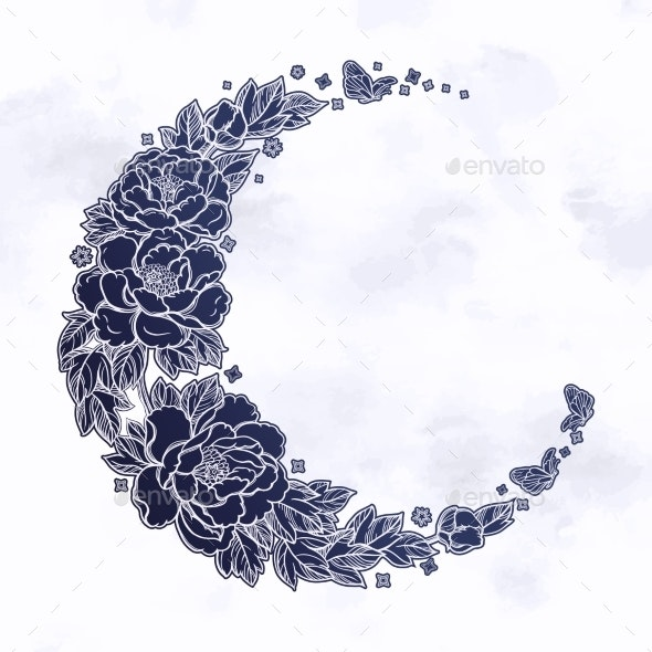Romantic Crescent Moon - Decorative Symbols Decorative