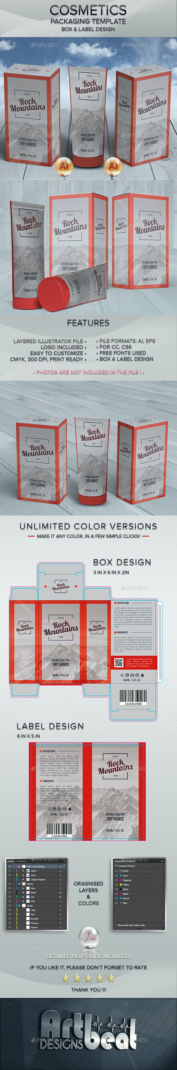 Cosmetic Tube and Label Packaging Templates - Packaging Print Templates