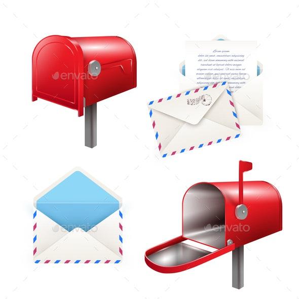 Realistic Postal Elements Set - Miscellaneous Vectors