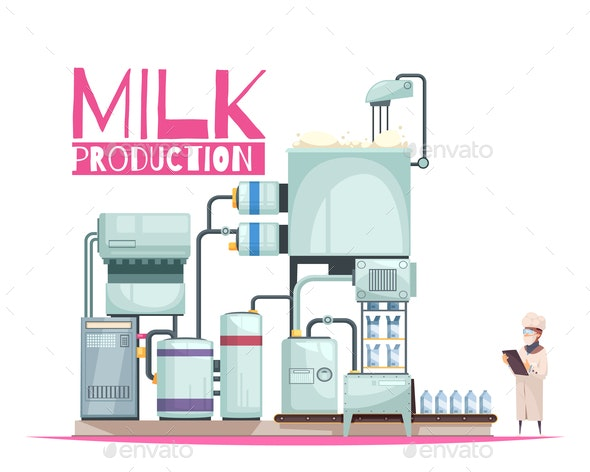 Milk Manufacturing Background Composition - Food Objects